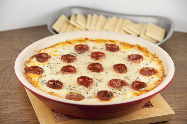 Pepperoni Pizza Dip - great for New Year's Eve appetizer!   | Wishes and Dishes