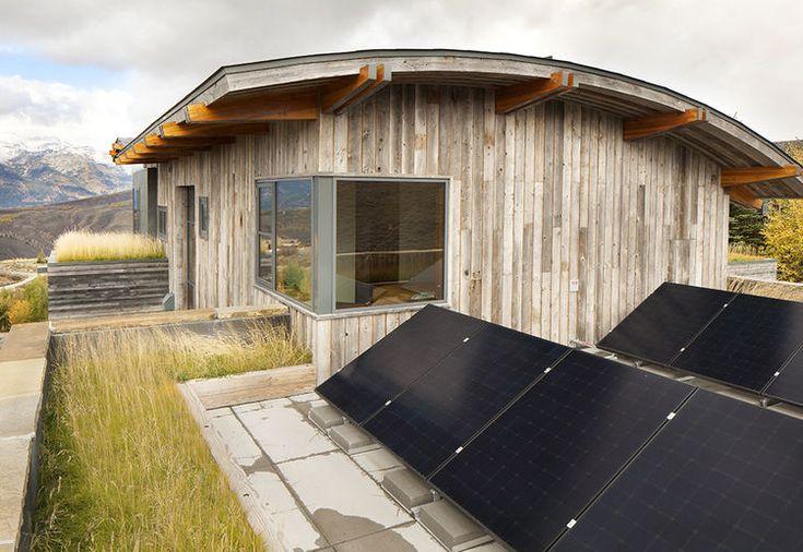 Vivir techo y paneles solares en Jackson Hole casa de vacaciones