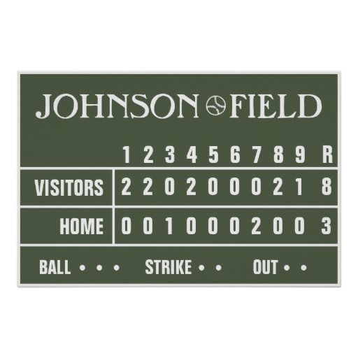 """Make a huge impact with this 36"""" x 24"""" personalized baseball field scoreboard poster.  Great for any baseball enthusiast from tiny tot to full grown man!  <BR><BR>  Personalized the score too by adding in the numbers for your ball player's birthday, personal records, jersey number, etc.<BR><BR>  <B>DESIGN NOTES: </B><BR> Click on """"Customize It"""" once you've added your text and score numbers if you'd like to change the font size, move the baseball, etc. <BR><BR> Having trouble? I'm more than…"""