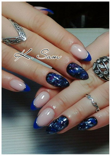 Blue French, Blue French manicure, Color french manicure, Colorful French, Drawings on nails, Foil nail art, French ideas 2016, French manicure