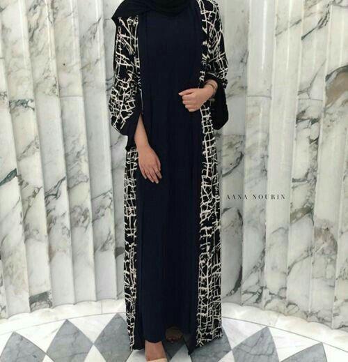 Black & White open #abaya