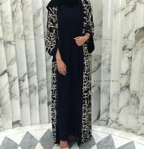 Black & White open #abaya