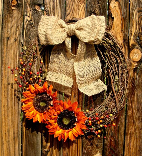 Autumn Orange Sunflower Wreath - Fall Wreath - Grapevine Wreath - Door Wreath - Fall Decor - Autumn Decor