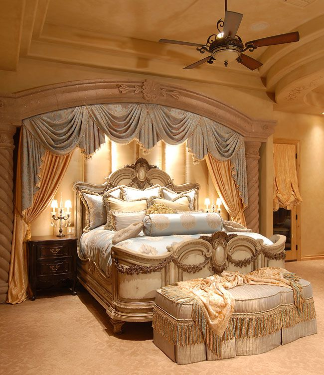 Love the padded wall behind the bed and doesn 39 t necessarily need the draping master bedroom - Magnificent luxury bedroom design ideas ...