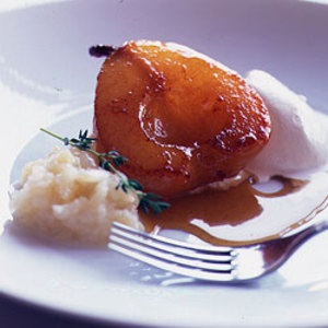 An Elegant Winter Dinner, part six: Caramelize white wine-poached pears in a puddle of pungent chestnut honey! Its bittersweet edge offsets the sweetness of this dessert. Serve with a luscious dessert wine like Quarts-de-Chaume from the Loire Valley. From @Saveur Magazine, found at www.edamam.com.