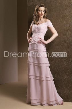 Layered Bare Shoulders Light Pink Prom/Bridesmaid Dresses