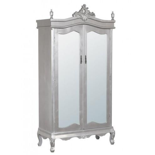 Shop Now: Boudoir Provence Antique Silver Armoire Wardrobe Full Mirror Door - TFC6065-SL - 25% Off Plus Free Delivery On Orders Over £100