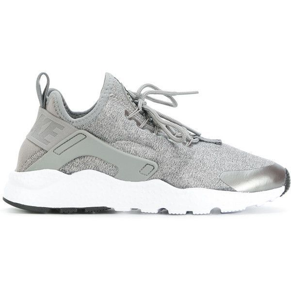Nike Huarache Run Ultra sneakers ($230) ❤ liked on Polyvore featuring shoes, sneakers, grey, gray shoes, stretch trainer, nike footwear, nike sneakers and cushioned shoes