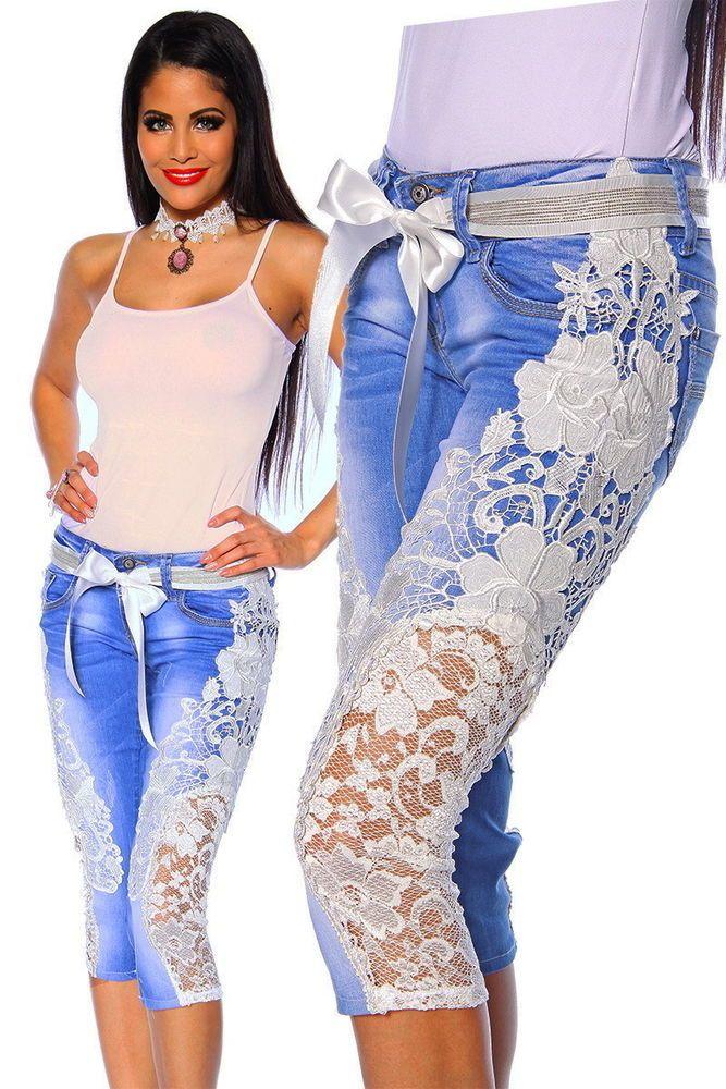 Luxus Capri Jeans Spitze Handarbeit Extravagant Elegant Denim Apropos