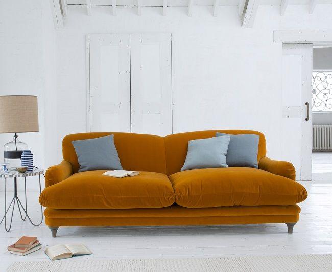 loaf shack, orange sofa