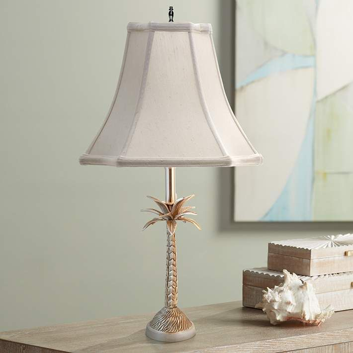 Tropical Palm Tree Pewter Table Lamp With Off White Shade 9x932 Lamps Plus In 2021 Tropical Table Lamps Table Lamp Lamp