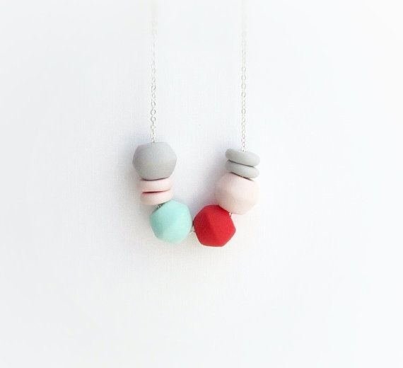 Mint Coral polymer clay necklace, geometric necklace, colorful boho necklace, nautical summer on Etsy, $24.66