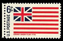 This flag includes 13 stripes and the British Union Jack in the upper left-hand corner. When General George Washington was laying siege to British-controlled Boston, he ordered a flag be hoisted over Prospect Hill. This was it, the Grand Union flag.