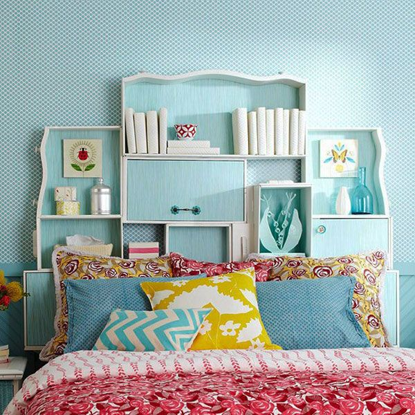 5th choice out of 35 Cool Headboard Ideas To Improve Your Bedroom Design...definitely nice for little storage and decoration..great idea!