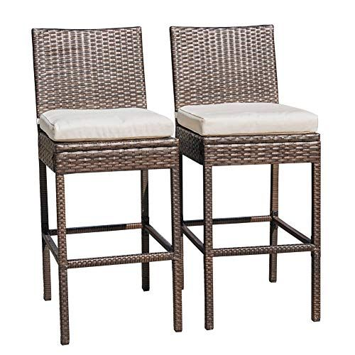 Sundale Outdoor 2 Pcs All Weather Patio Furniture Brown Wicker