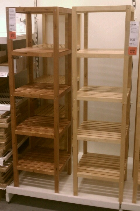 Ikea shelves- Molger - have the bench and bath organizer