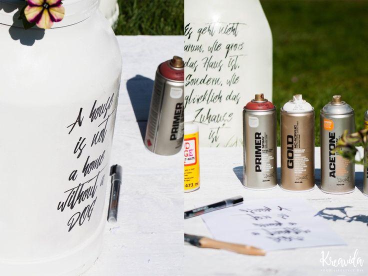 Milchkanne Sprühlack DIY