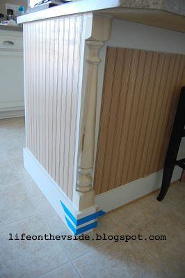 pre-primed MDF bead board panels + half-newel posts (for detailing banisters on stairways) + a piece of primed MDF as a baseboard