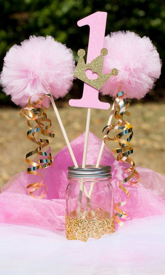 Princess Party Pink and Gold Centerpiece Table by GracesGardens