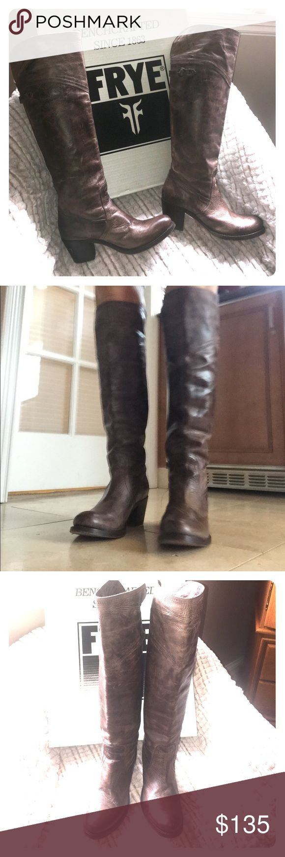 """Frye """"Jane"""" Tall Cuff in Taupe Frye """"Jane"""" Tall Over The Knee or Cuffed in Taupe. EUC, The leather was intended to look distressed like a bomber jacket. They sold as brown, but to me they are a mix brown, gray and cream. Easy slip on/off, wear over the knee or cuffed, brass hardware, 2 1/2"""" stacked wood heel, leather bottom, cushioned sole, 15 1/2"""" shaft, Frye Shoes Over the Knee Boots"""