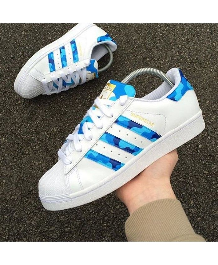 Adidas Superstar Custom Camo Blue Shoes The latest style, highlight the vitality of the young and trendy colors, very suitable for young people!
