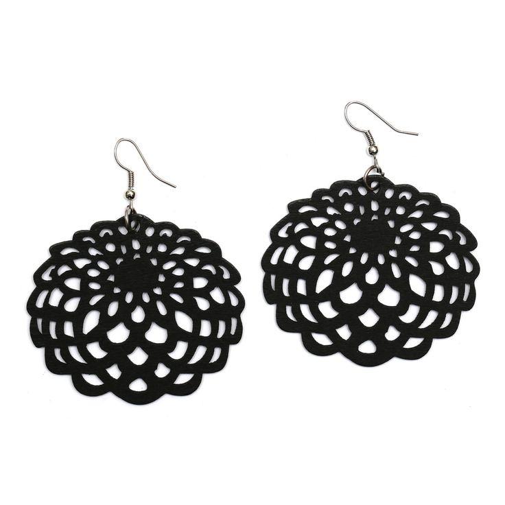 Black filigree flower cut out design wooden dangle earrings