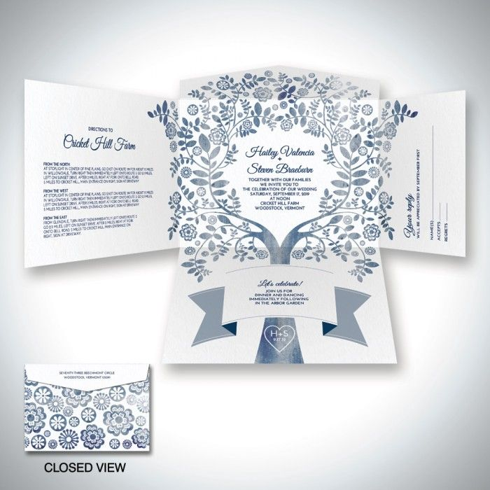 Arboreal Self Mailer Wedding Invitation Einvite For The Who Carved Their Initials