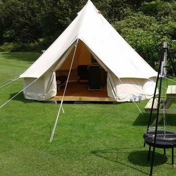Outdoor Leisure Camping Canvas Bell Tent Sibley Tent with Hole for Stove Pipe