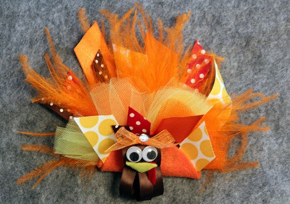 Thanksgiving Turkey Hair Bow made with tulle by MimiMayBoutique