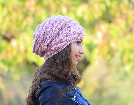 Rosa sombrero flexible, Slouch tejer sombrero gigante mujer, Rosa gorro, sombrero, Rosa mujer sombrero de punto