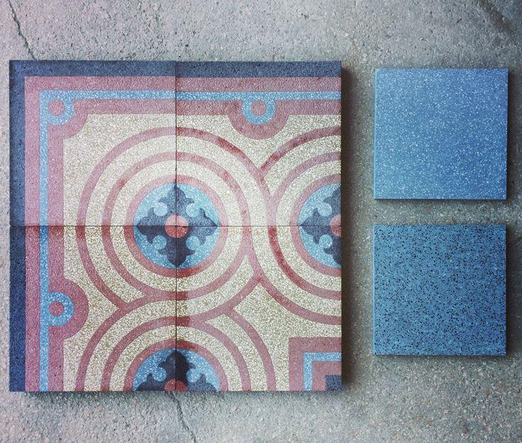 Patterns in terrazzo - decori in graniglia. #interiorstyling #interiordesign #creative #interiorstylist #decorare #decoration #blue #red #grey  #terrazzo #graniglia #grandinetti #madeinitaly #floors #floortiles #pavimento #fattoamano #handmade #arredare #artigianato #eye #design #samples #bespoke #style #photooftheday