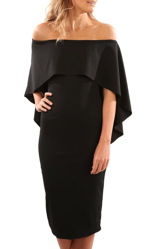 Luxurious Off Shoulder Batwing Cape Black Formal Midi Dress