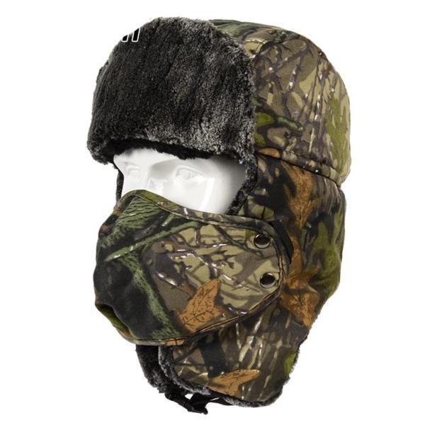Winter Men Camouflage Military Tactical Waterproof Ski Hike Motorcycle Face Mask Balaclava Ushanka Ear Flap Cap Hats For Men Motorcycle Face Mask Bomber Hat