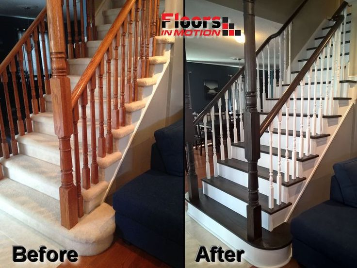 Before And After Of A Staircase Refinished From Blah Builders Carpet Stairs  To Gorgeous Hardwood Stairs