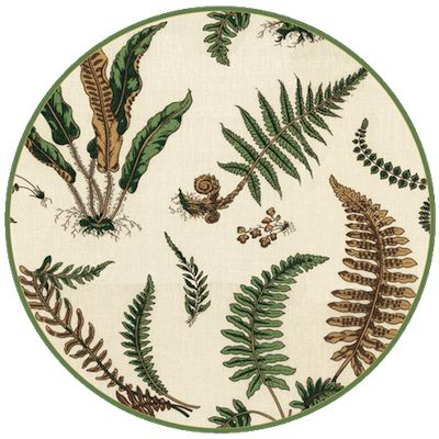 "New wispy fern design from Scalamandre's Elsie De Wolfe collection. Made of sturdy paperboard with a vinyl coating that makes them extra durable and spill resistant. Wipe clean. 14""DIA."