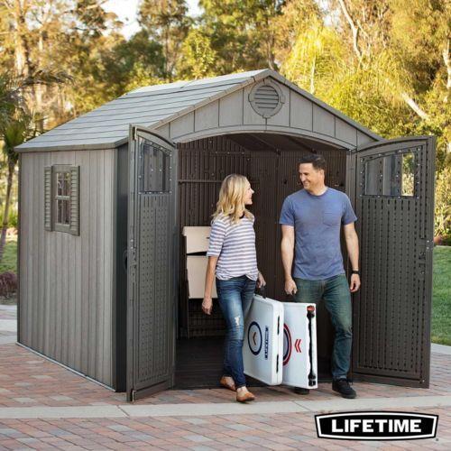 Wood-Look-Garden-Shed-Plastic-Storage-Garage-Tools-8-x-10m-Summer-House-Workshop