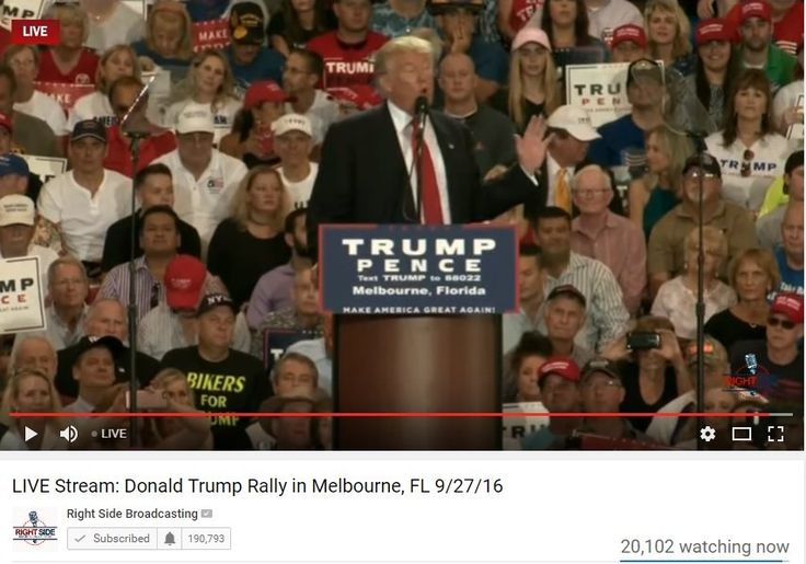 15,000 at TRUMP Melbourne Rally, 12,000 Turned Away – 25,000 Watch Online! –VIDEO (9/27/16)
