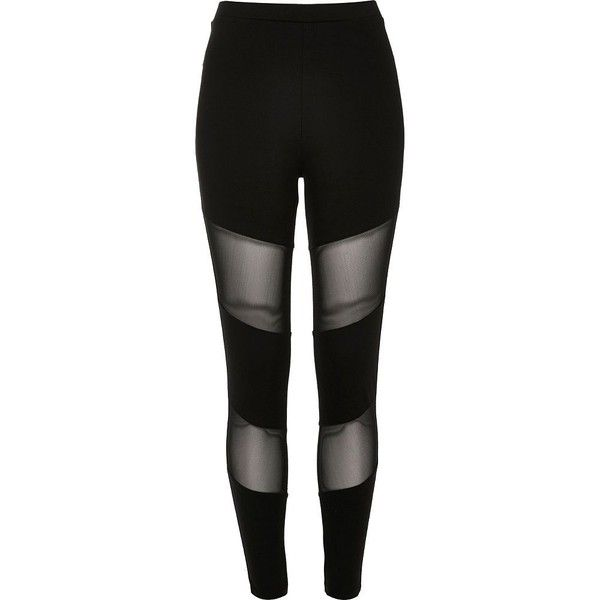 River Island Black mesh panel leggings ($44) ❤ liked on Polyvore featuring pants, leggings, bottoms, black, women, high-waisted pants, high-waisted leggings, mesh leggings, tall pants and mesh pants
