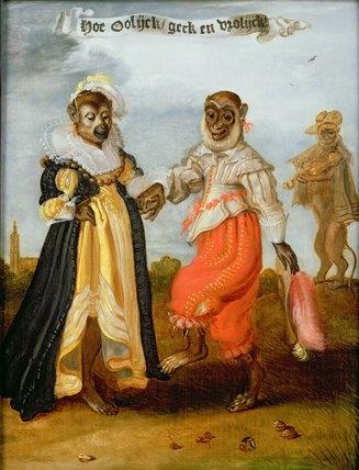Two dancing monkeys dressed as a wealthy couple  Venne, Adriaen Pietersz. van de