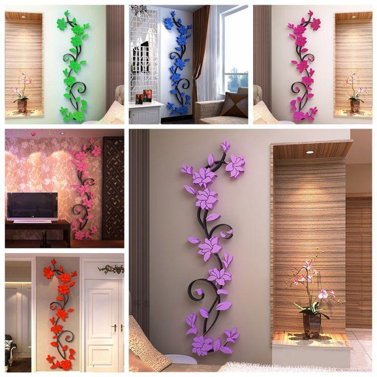 Adesivi murali 3D Romantic Rose Flower Sticker Da Parete Smontabile Della Decalcomania Camera Vinile Per La Casa Decorazione Camera Da Letto