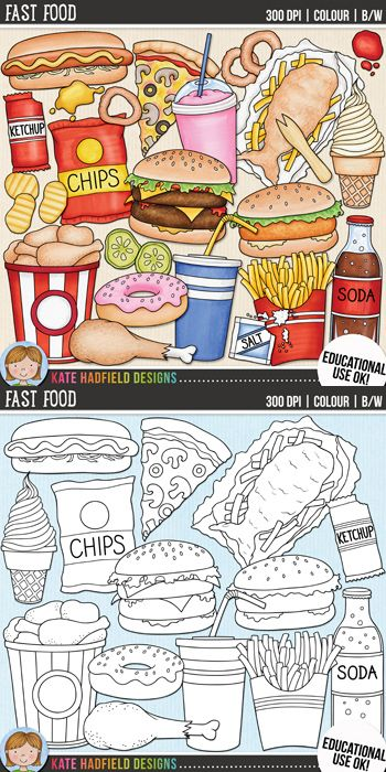 "Junk food clip art and line art bundle! ""Fast Food"" includes 24 junk food clipart illustrations created from my original hand painted artwork! Each design comes supplied as a full colour png, as well as black and white outline versions (in png and jpeg formats). All images are 300 dpi for best quality printing."