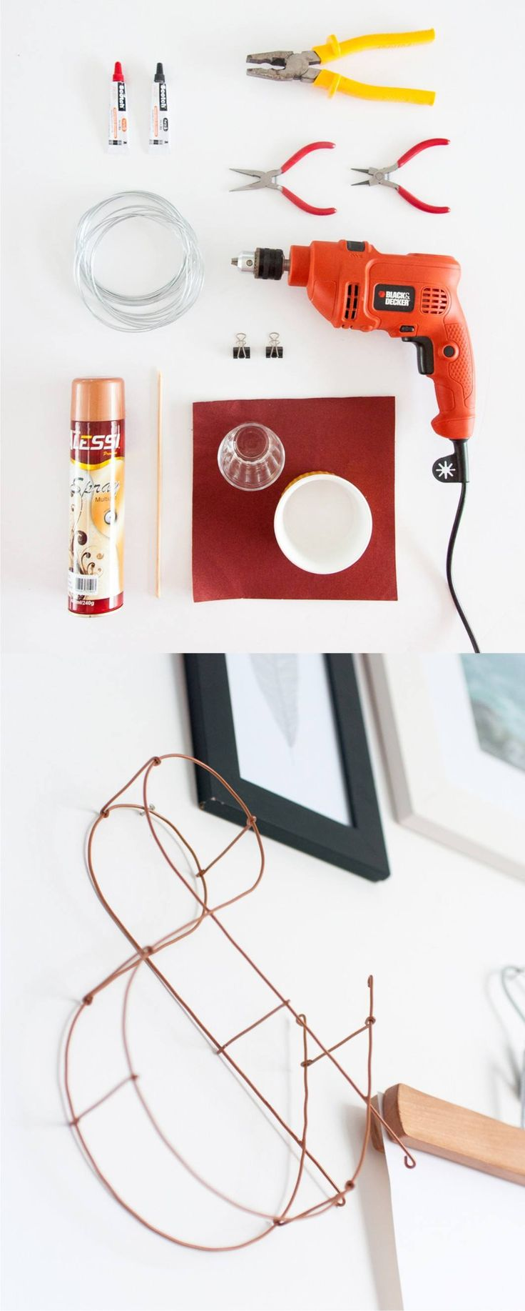 DIY Wire Letter Wall Decor - historiasdecasa.com.br - Letra de pared con alambre