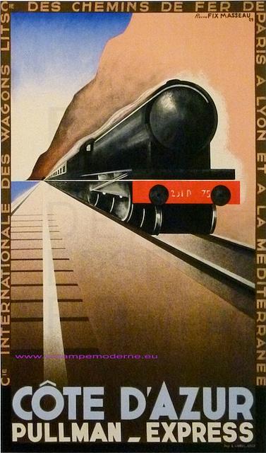 Fix Masseau 1929 Train Plm Cote D Azur Pullman Express 75X105 Imp Danel Lille by estampemoderne.fr, via Flickr