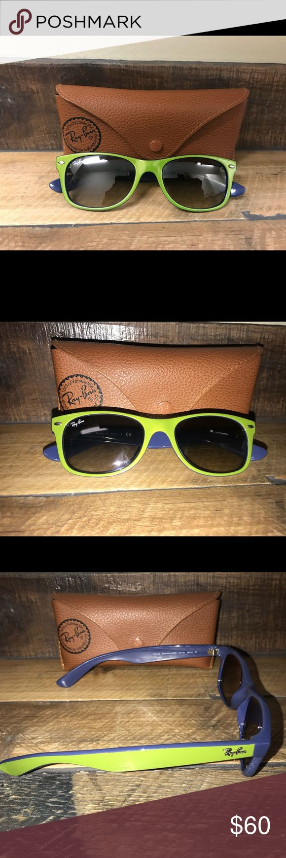 Ray Ban Wayfarer Wayfarer style Ray Bans Green outer Blue inside  Excellent condition  Comes with original leather ray ban case Ray-Ban Accessories Glasses