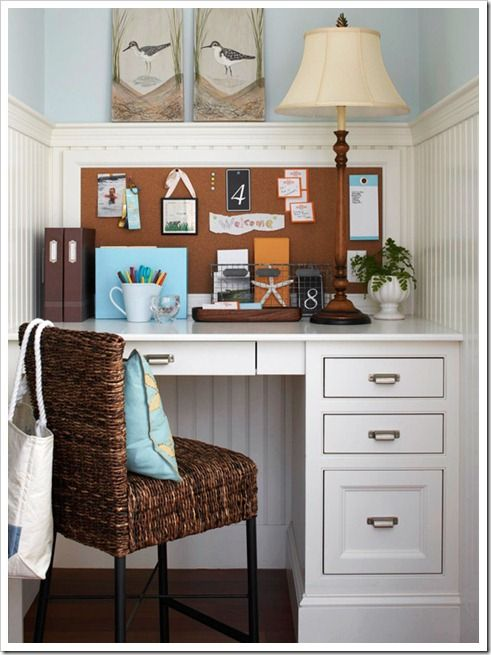 If you love bead board you will love this private study nook with storage.