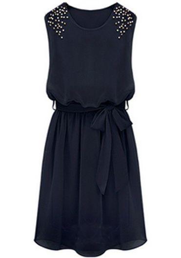 Black Sleeveless Bead Belt Chiffon Sundress US$21.97