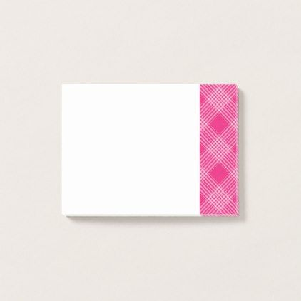 Pink and White Plaid Tartan Pattern Post-it Notes - patterns pattern special unique design gift idea diy