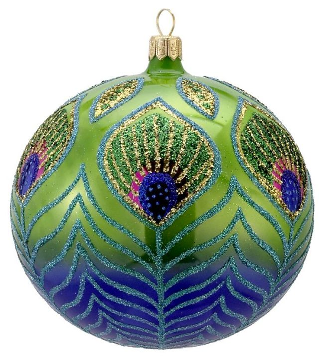 David Strand Kurt Adler Glass Peacock Ball Ornament, 4.5-Inch - Christmas - kerstmis - holidays