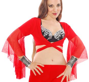 Choli Top with Mesh Butterfly Sleeves - RED