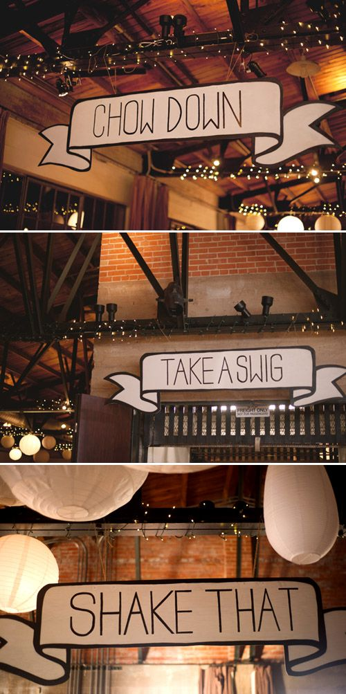 Fun, creative signage for wedding at Hickory Street Annex in Dallas, Texas - planned by Couture Events by Lottie, photos by Nine Photography | junebugweddings.com